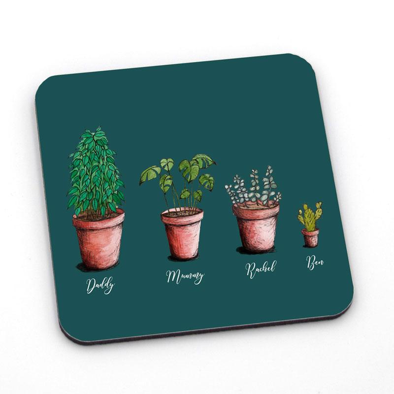 Personalised square coaster with house plants printed on it