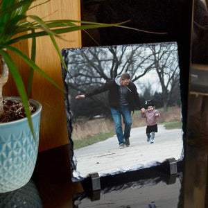 A personalised square photo slate printed with an image of a father and daughter.