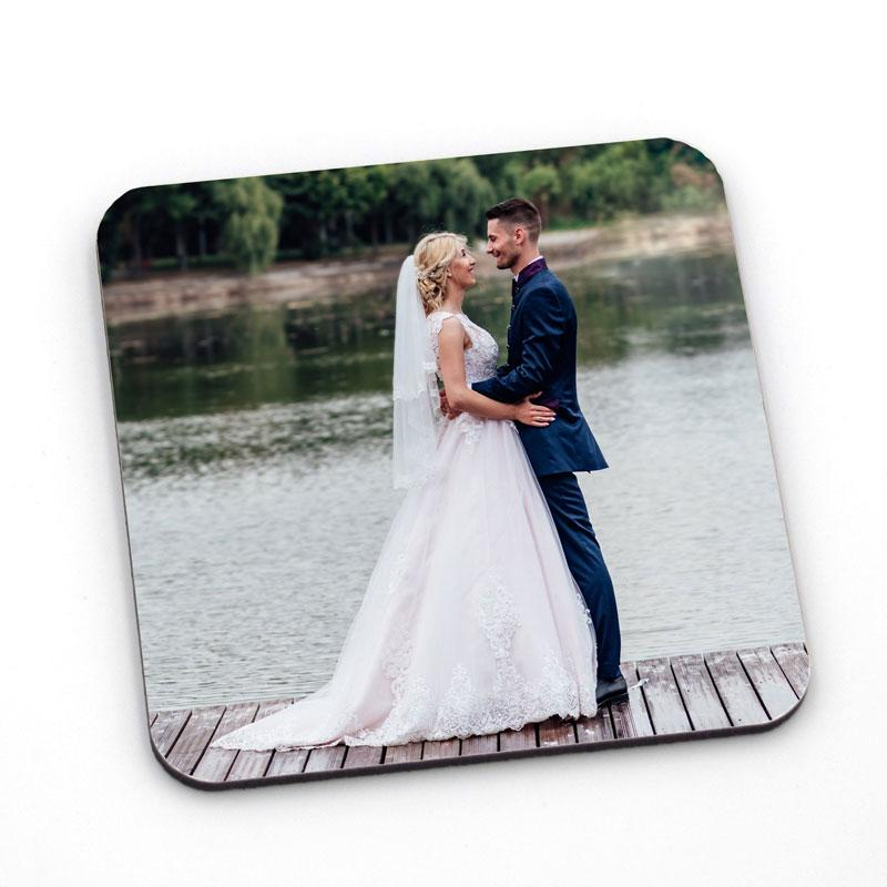 A personalised square photo coaster