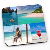 A personalised photo coaster with 4 images in a brick work pattern. All the images show a holiday scenes.