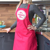 A personalised star baker apron in hot pink