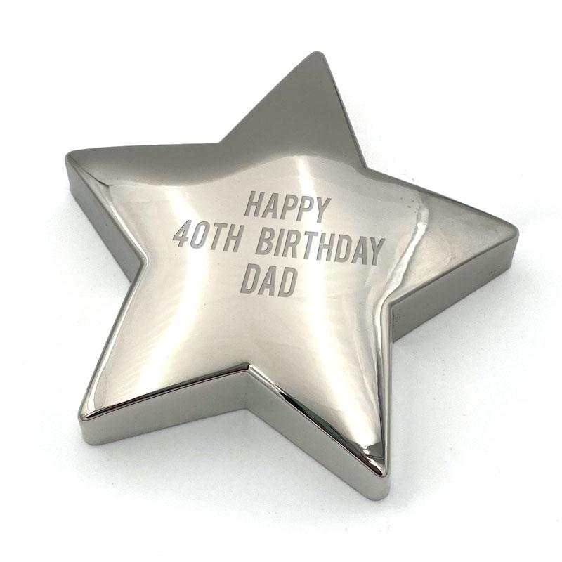 Personalised Engraved Star Paperweight Metal