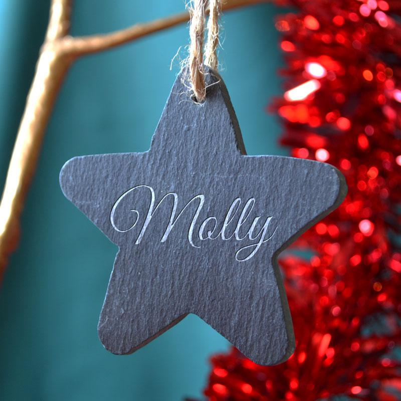Personalised Engraved Name Slate Star Christmas Bauble