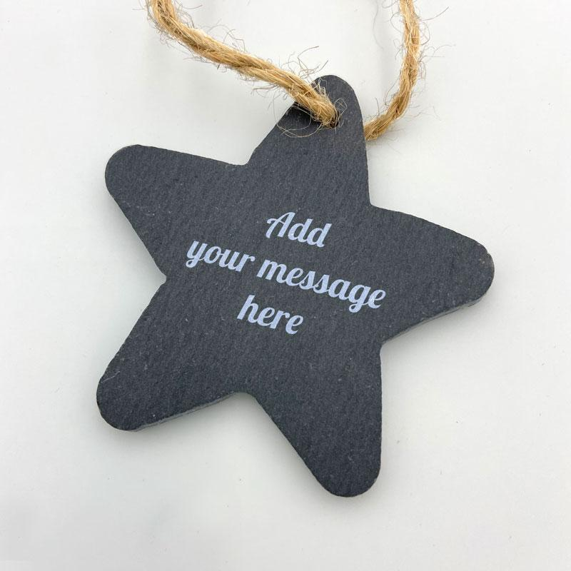 Personalised Slate Star Christmas Decoration Engraved Message