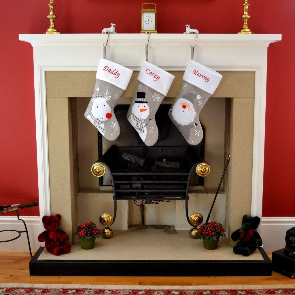 Personalised Silver Christmas Stockings with Snowman Reindeer or Santa