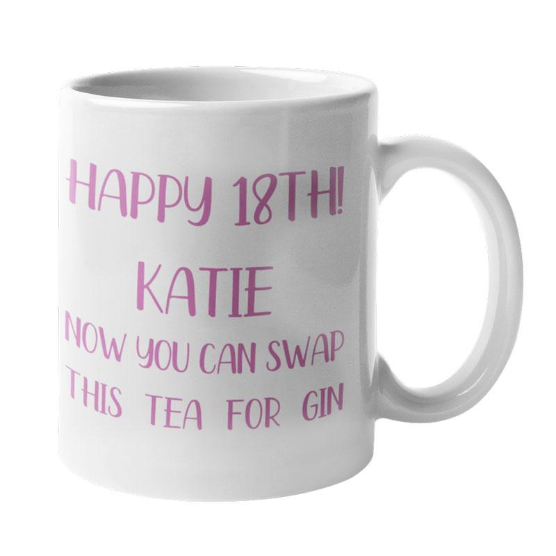 A personalised 18th birthday mug with pink lettering