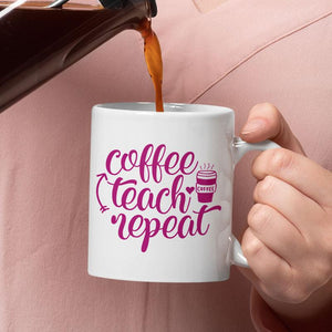 "Personalised teacher mug with ""coffee teach repeat"" message in purple."