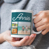 "A personalised name mug with photos and the name ""Annie"" printed on it."