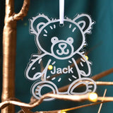 Personalised Engraved Teddy Bear Christmas Decoration Name Clear Acrylic