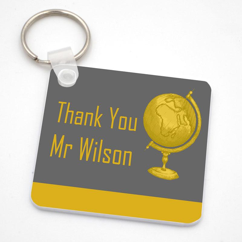Personalised Thank You Square Key Ring in Yellow and Grey