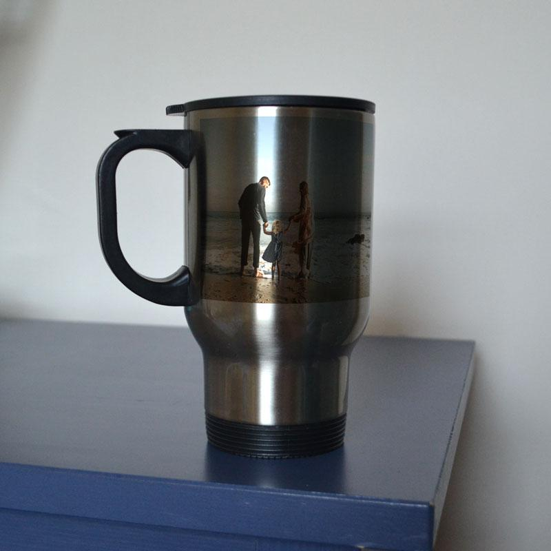 Personalised photo travel mug in silver