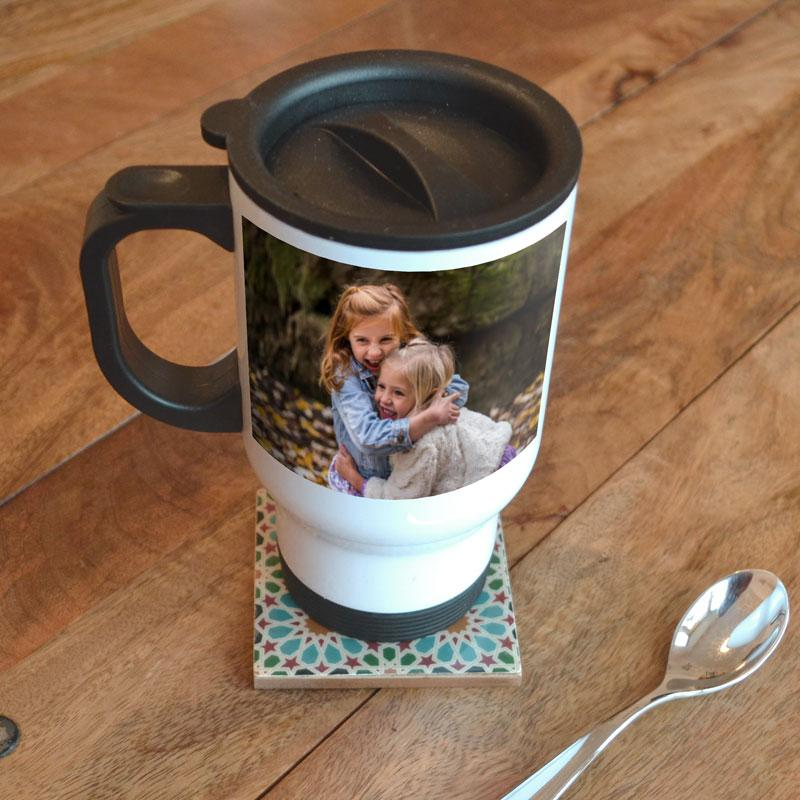 Personalised photo travel mug in white