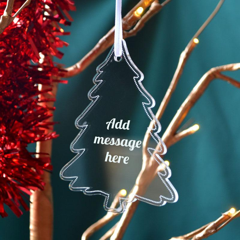Personalised Clear Christmas Tree Decoration Any Message