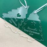 Personalised Baby's First Christmas Tree Decoration Clear Acrylic