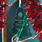 Personalised Engraved Acrylic Christmas Tree Decoration New Home