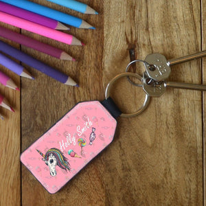 Personalised Unicorn Leather Keyring