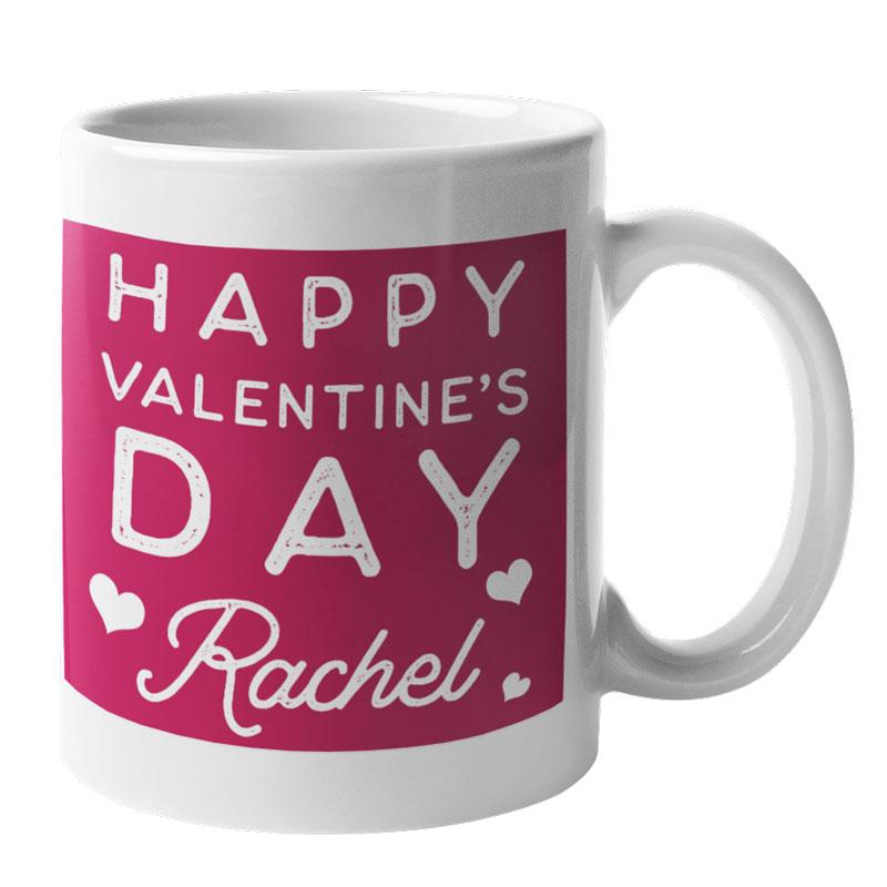 A personalised red and white mug with a Valentine's Day message