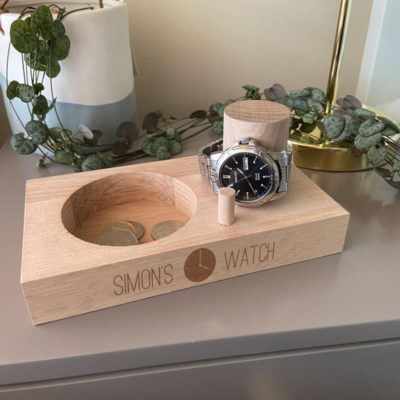 Personalised Engraved Mens Watch Stand Solid Oak Watch Stand Always Personal