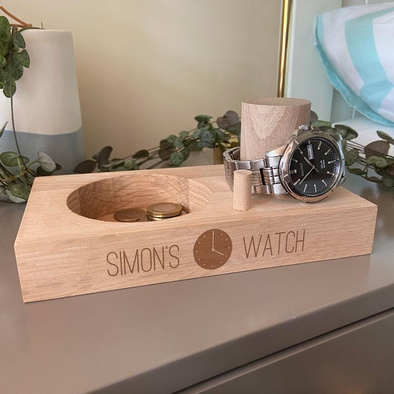 Personalised Engraved Mens Watch Stand Solid Oak