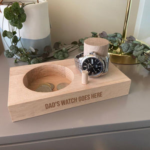 Personalised Engraved Watch Stand Solid Oak Any Message