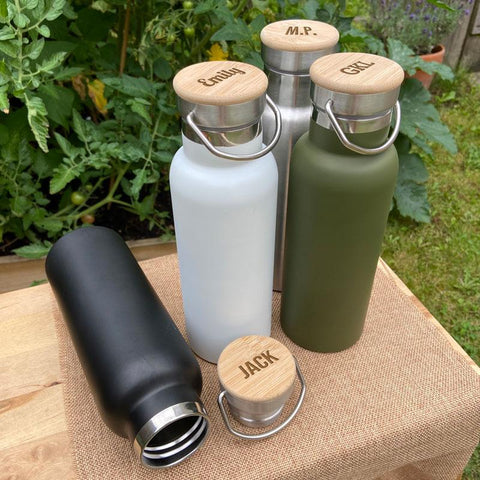 Bamboo lid personalised water bottle