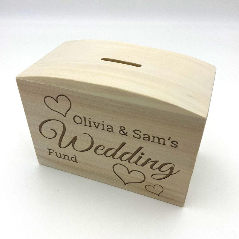 Personalised Wedding Fund Money Box Solid Wood Engraved