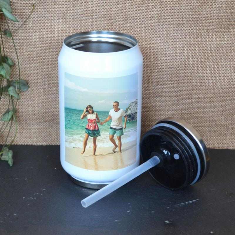 Personalised Reusable Photo Stainless Steel Can With Straw