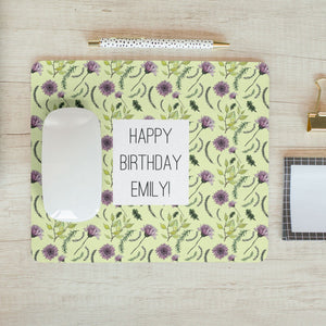 Personalised Wildflower Pattern Mousemat with Message