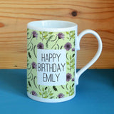 Personalised Wildflower Pattern Porcelain Mug Mug Always Personal