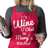 "Personalised ""Wine O'Clock"" apron in hot pink"