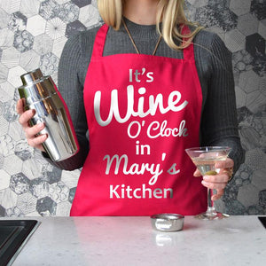 Personalised Printed Wine O'Clock Apron