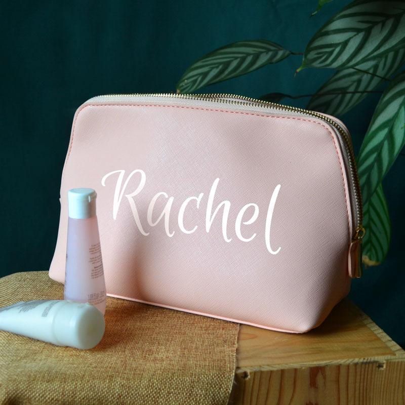 Personalised Women's Make Up Bag or Wash Bag Pink Black or Grey