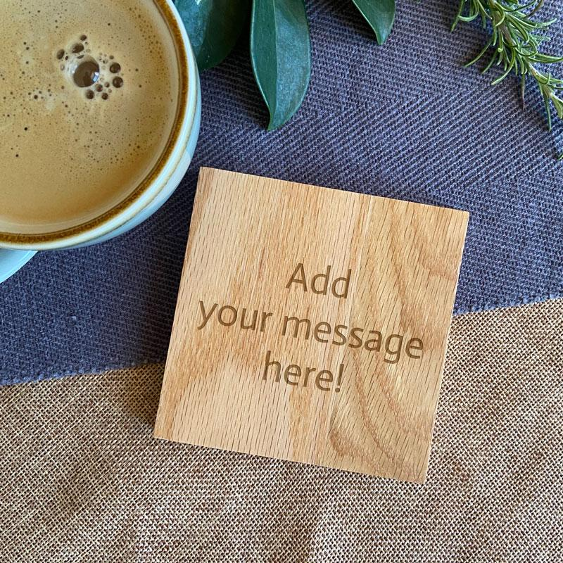 Personalised Solid Oak Square Wooden Coaster Any Message