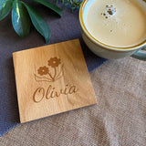 Personalised Solid Oak Wooden Coaster Flower Icon