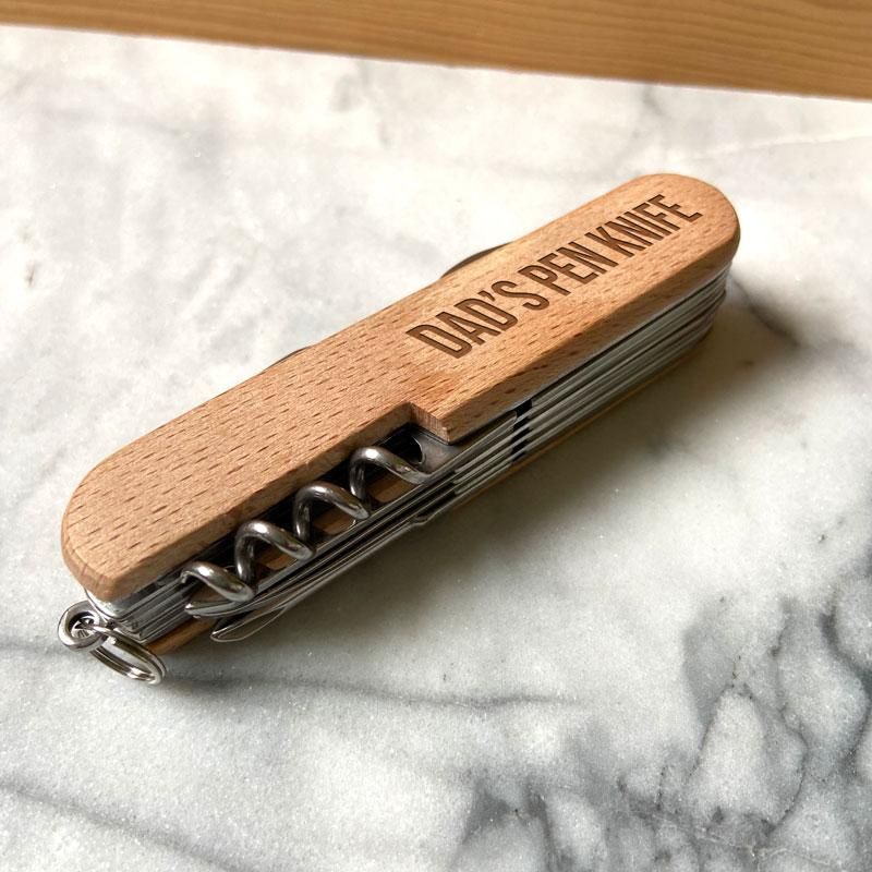Personalised Engraved Pen Knife with Wooden Handle