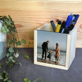 Personalised Wooden Photo Pencil Pot Keepsake Box