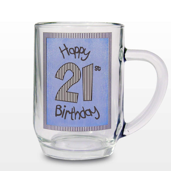 Blue 21st Happy Birthday Tankard