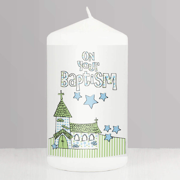 Blue Baptism Church Candle