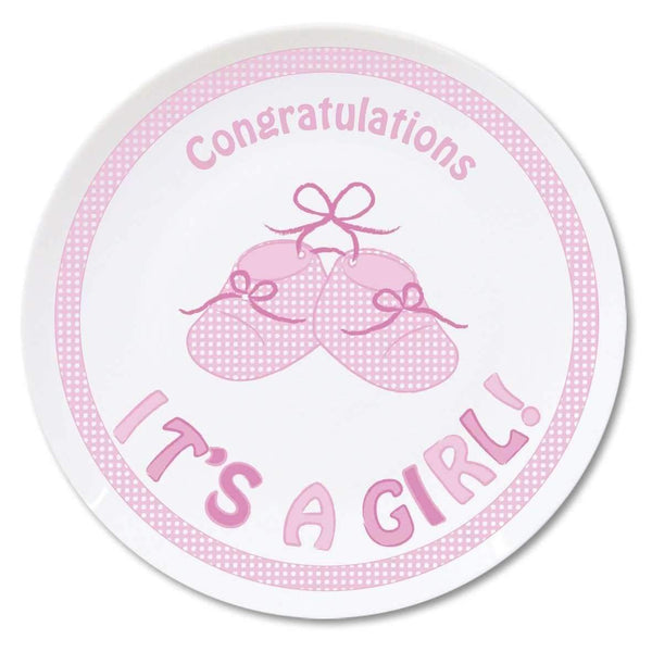 "Bootee 8"""" Plate Its a Girl"