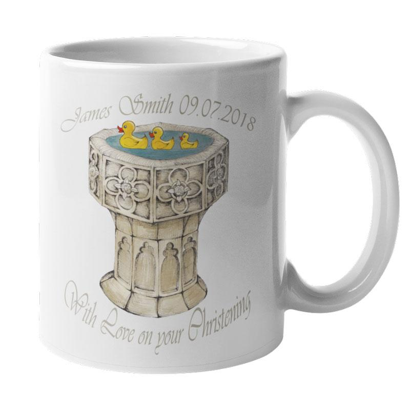 A personalised mug celebrating a child's Christening