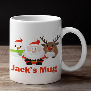 A personalised small children's mug with Christmas characters printed on it