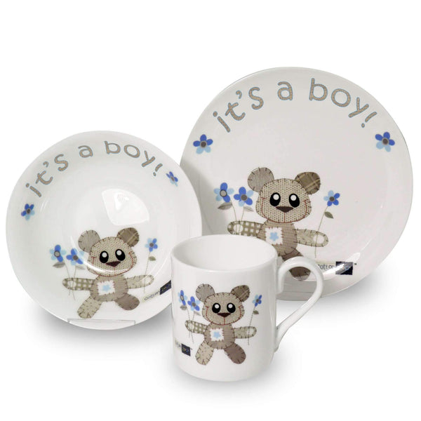 Cotton Zoo Tweed the Bear Breakfast Set - It's a Boy