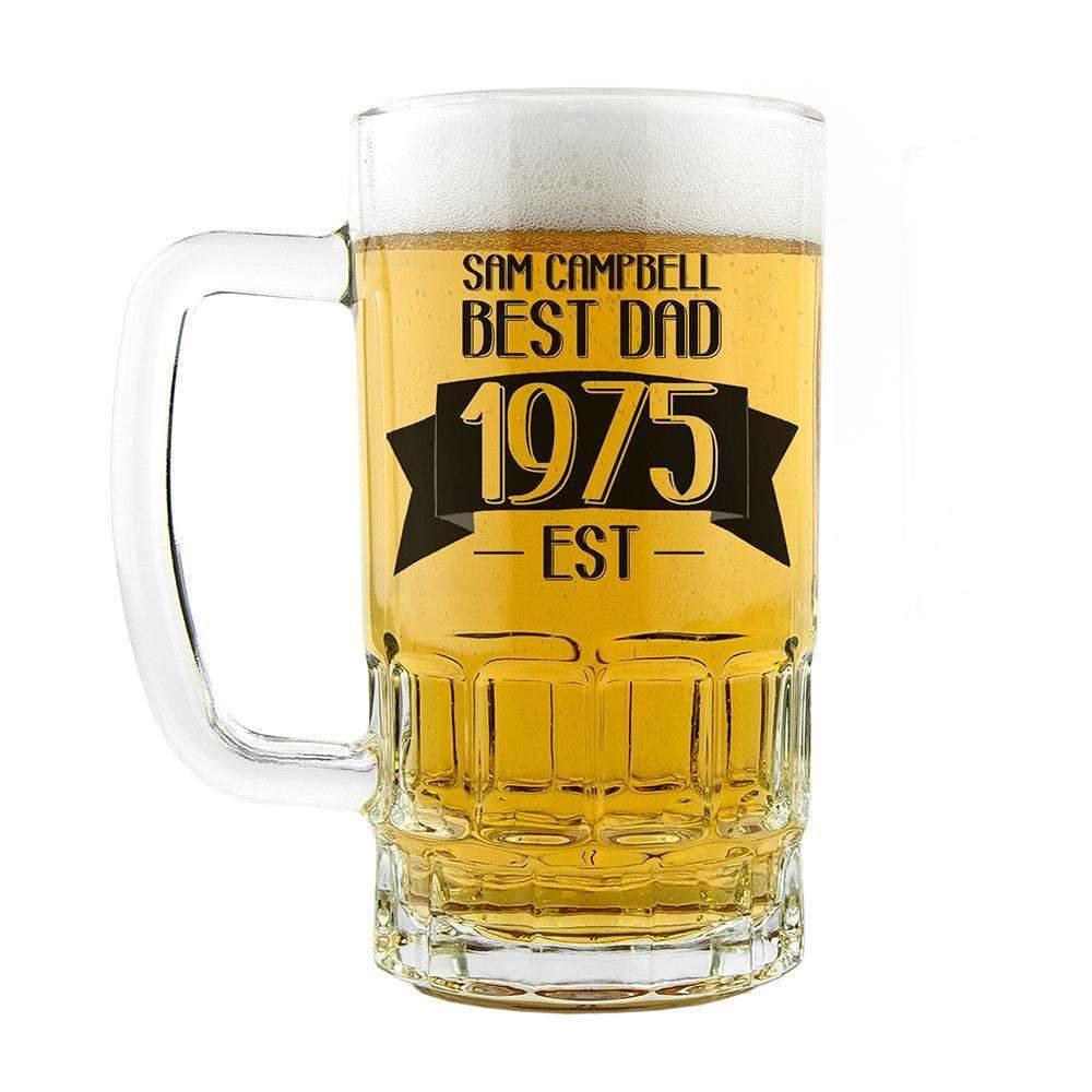 Dad Established In Beer Glass Tankard Glassware Treat