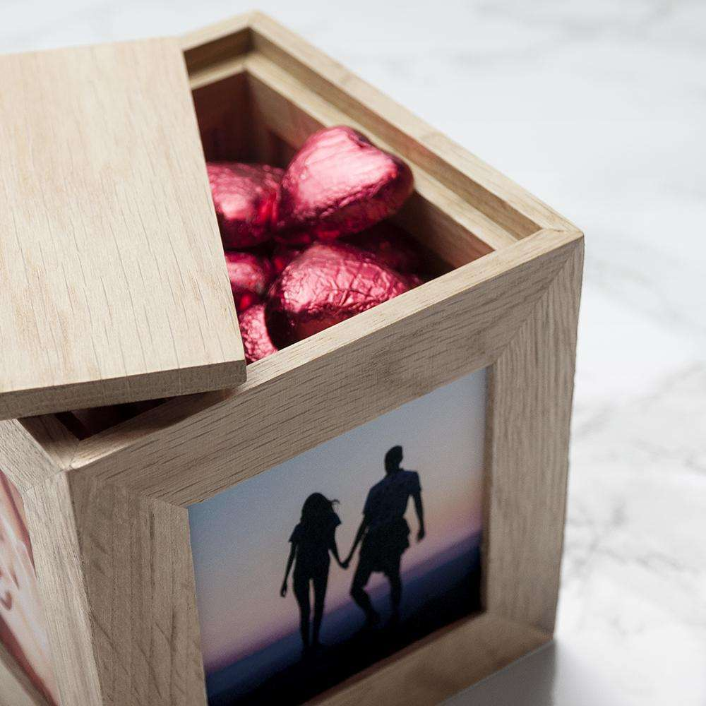 Engraved All About You Oak Photo Cube Box Treat