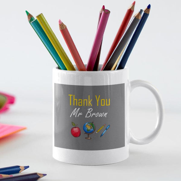 A personalised mug with a thank you message printed on it