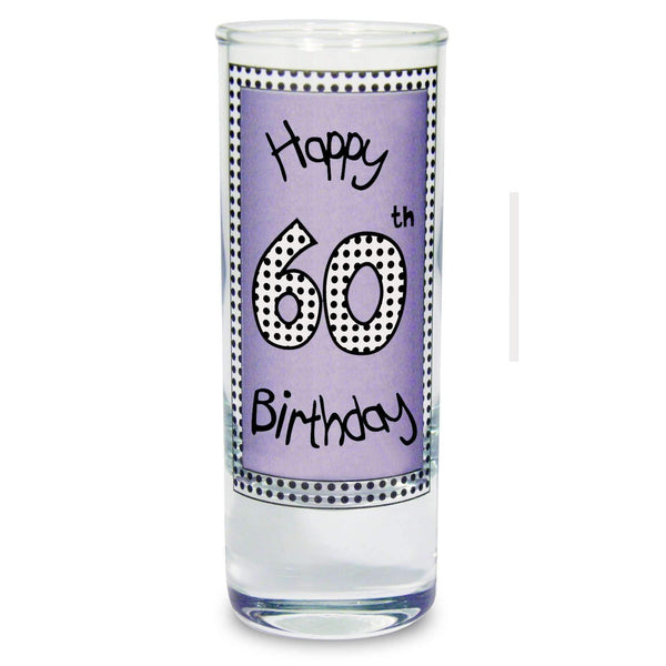 Lilac 60th Happy Birthday Shot Glass