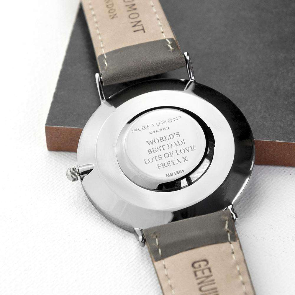 Men's Modern-Vintage Personalised Leather Watch In Ash Accessories Treat