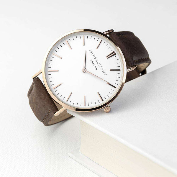 Men's Modern-Vintage Personalised Leather Watch In Brown