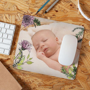 Personalised Flower Pattern Photo Mousemat