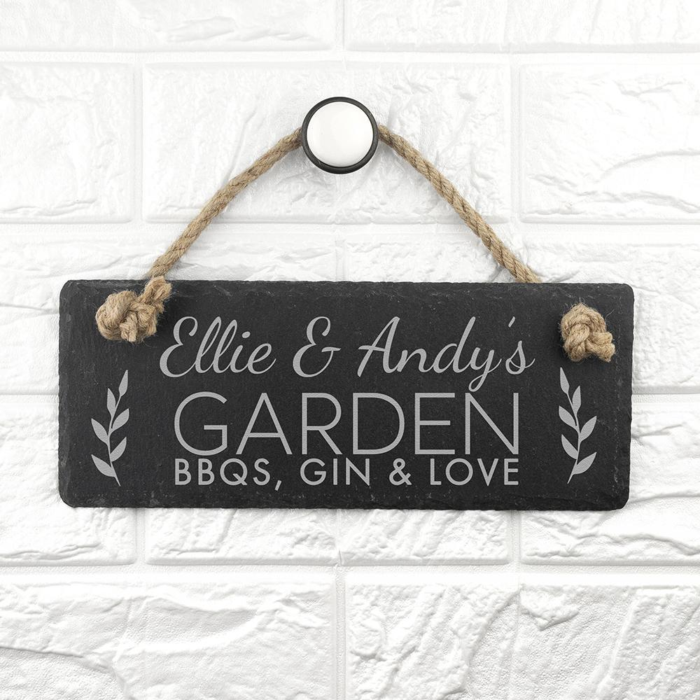Personalised Our Garden Slate Hanging Sign Sign Treat